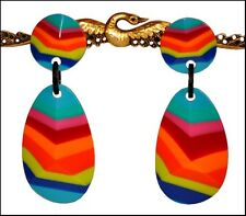 GORGEOUS FRENCH DESIGNER MULTICOLOR RESIN DANGLING CLIP ON EARRINGS