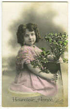 circa 1913 Vintage Children LONG CURLS CUTEY antique photo postcard