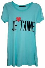 WILDFOX COUTURE JE T'AIME FRENCH TIFFANY BLUE TEE TOP L 14 10 42!