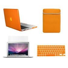 "4 in1 Rubberied ORANGE Case for Macbook PRO 15"" Retina + Key Cover + LCD + Bag"