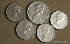 GROUP OF 5 NEW ZEALAND  CIRCULATED DECIMAL COINS 10 AND 20 CENT #N589