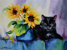 CAT Art Animal Floral Still Life Impressionism Original FLOWERS Oil Painting