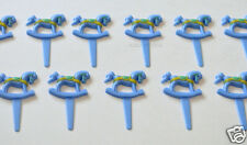 12 Blue Rocking Horse Cup Cake Picks Topper Baby Boy Shower Party Bakery Supply
