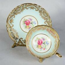 EXQUISITE VINTAGE PARAGON TEACUP & SAUCER - BLUE/WHITE INTRICATE GILDED PATTERN