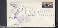 Winter Olympics 1980 USPS Commemorative Envelope & Stamp Torch Relay Station