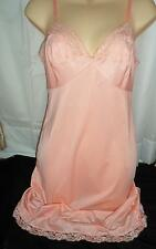 Vtg SOFT GORGEOUS PEACH Lace Full Slip Dress Nylon Kayser 32 XS