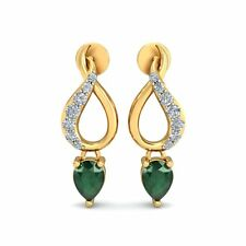Emerald & 100% Real Natural Diamond 14K Yellow Gold Over Sterling Earrings