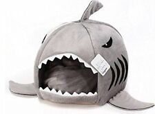 Grey Shark Bed Cat Dog Cushion Pet House Waterproof Small Soft Fluffy Bolster