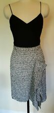 OSCAR DE LA RENTA Black Boucle Tweed Side Ruffle Pencil Skirt 2