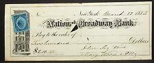 Us Check National Broadway banco inter. revenue stamp 2c 1883 EE. UU. cheque (h-8161
