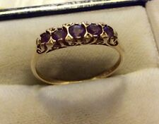 Beautiful Ladies Full Hallmarked Vintage 9ct Gold Five Stone Amethyst Ring P 1/2