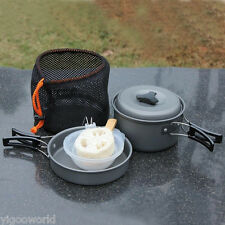 8pcs Outdoor Camping Cookware Backpacking Cooking Picnic Bowl Pot Pan Set