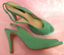 H&M UK7 EU40 green snakeskin suede (leather) slingback sandals - tried on only