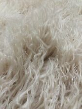 IVORY ALPACA APE FLUFFY CURLY FAUX FUR 3 INCH LONG PILE HAIR FABRIC BY THE YARD