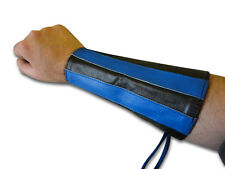 Blue Stripes Double Leather Gauntlet Handcuff Wristband Arm Band Brand New Pair