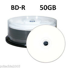 25 6x 50GB Blu-ray BD-R DL Double Layer Blank Media White Inkjet Printable Discs