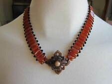 Red/Orange Carnelian Beaded  w/Carved Agate Milan Italy~Italian Choker~Necklace