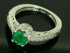 R195- Genuine 18ct WHITE Gold Natural EMERALD Diamond ENGAGEMENT Ring size N