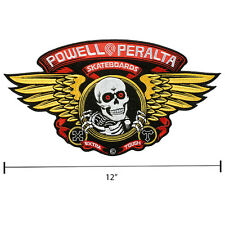Powell Peralta Winged Ripper Woven Moto Punk Patch 12 Inch Wide Skull Skateboard