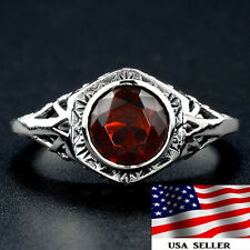 1CT Fire Garnet 925 Solid Genuine Sterling Silver Victorian Style Ring Sz 8