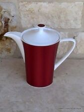 Nikko Silk Rouge Coffee/Tea Pot w/Lid Red Subtle Rings Gold Trim/Verge New