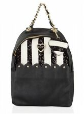 NWT Betsey Johnson Scalloped Pocket Medium Backpack Bone/Black Sequin Stripe