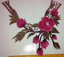 NEW Pink Red Floral Design Guipure Lace Collar - Embroidered Applique Neck Trim