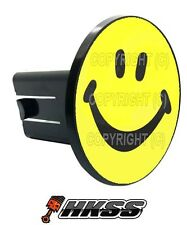 Universal Class 2  3 Tow Hitch Receiver Insert Cover Plug - SMILEY FACE YB RYF