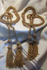 Antique Vintage Gold Pair of Curtain Tie backs  Beaded Ropes with Beaded TASSELS
