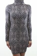 RIVER ISLAND Chelsea GIrl beige black jacquard jersey poloneck dress size 8