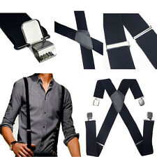New Mens Black Elastic Suspenders Leather Braces X-Back Adjustable Clip-on