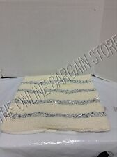 Pottery Barn West Elm Knitted Sequins Throw Pillow Cover Ivory Silver 18""