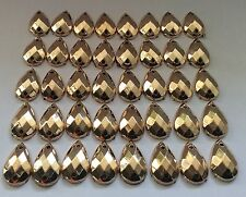 50 pcs x Sew  On 8x12 mm Acrylic Rhinestones Golden Color Teardrop Shape