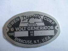 Typenschild Schild Owen Dyneto 6 Volt Generator S24
