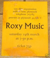 ROXY MUSIC ORIGINAL TICKET VAN DIKE CLUB PLYMOUTH 24 MARCH 1973
