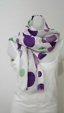NWOT EYFEL PURPLE GREEN DOTS SCARF SHAWL COTON BLEND MADE IN TURKEY WOMENS