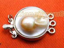 SALE Big 18mm Round natural Pink or white Shell 3 strands Clasp-gp74