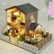 Wooden DIY Dollhouse Miniature Kit Motor Doll House+LED&Music Leisurely Life