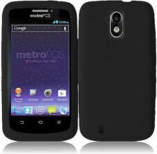 Sprint Boost Force N9100 Rubber SILICONE Skin Soft Gel Case Phone Cover Black
