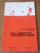 Anderlecht v Manchester United, 1968/69 - European Cup 2nd Rd Match Programme.