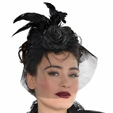 Adults Gothic Fascinator Black Rose netted Veil Feathers Halloween Steampunk BN