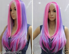 Rainbow multicolour blended-color elegant type long straight cosplay wig