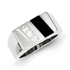 925 Sterling Silver Polished Square CZ & Black Onyx Men's Ring Size 11