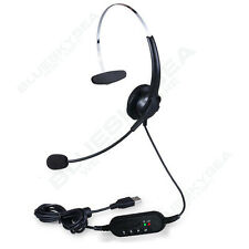 US STOCK! USB 2.0 Headset Stereo Headphone W/Noise Cancelling Microphone For PC