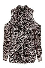 TOPSHOP Blush Animal Cheetah Print Cold Shoulder Shirt. Size 6. Sold Out! New!
