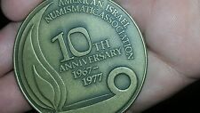 American Israel Numismatic Assn AINA 10th ANNIVERSARY BRONZE MEDAL 1967 - 1977