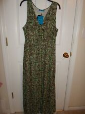 DEREK LAM GREEN BROWN GEOMETRIC MAXI FULL LENGTH CHIFFON DRESS SUNDRESS XL NEW