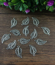 Wholesale 20pcs Tibet silver Leaves Charm Pendant beaded Jewelry Findings DIY W6