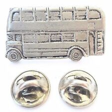 London Bus Double Decker Handcrafted in Solid Pewter In UK Lapel Pin Badge