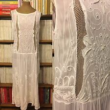 ZARA WOMAN dress M UK10-12 US6-8 white pearl embroidered long ethnic sheer tunic